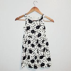 H&M girls black white rabbit bunny tank dress